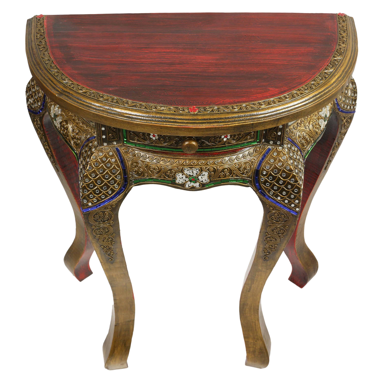 halbrunder beistelltisch tisch telefontisch opiumtisch mit. Black Bedroom Furniture Sets. Home Design Ideas