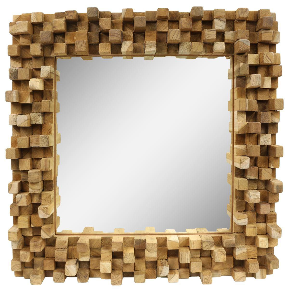 dekorativer spiegel mit holzrahmen mosaik wandspiegel aus thailand massiv w rfel holz spiegel ca. Black Bedroom Furniture Sets. Home Design Ideas