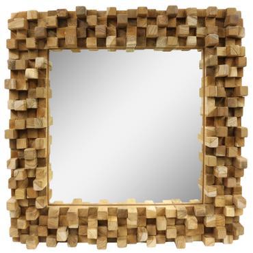 Dekorativer Spiegel mit Holzrahmen Mosaik Wandspiegel aus Thailand Massiv Würfel Holz-Spiegel ca. 50 x 50 cm Nr. 18 001