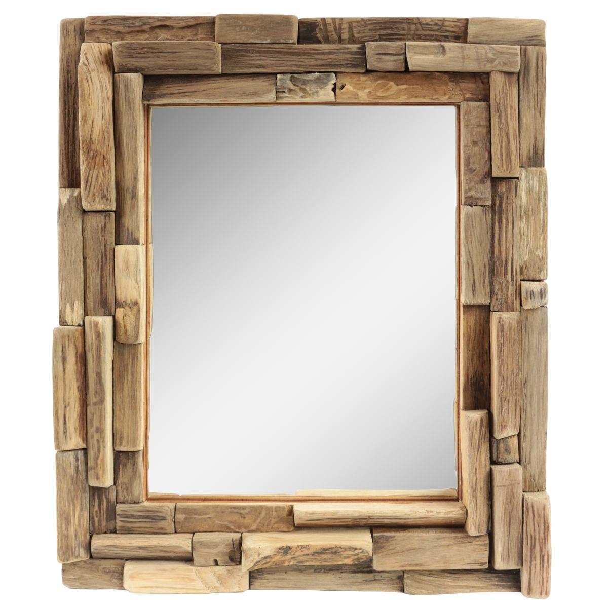 dekorativer spiegel mit holzrahmen mosaik aus holzst cken wandspiegel thailand massiv holz. Black Bedroom Furniture Sets. Home Design Ideas