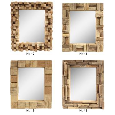 Dekorativer Spiegel mit Holzrahmen Mosaik aus Holzstücken Wandspiegel Thailand Massiv Holz-Spiegel Dekospiegel ca. 30 x 35 cm