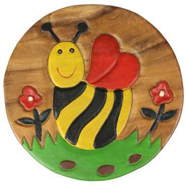 Kinderhocker Biene Hocker Rundhocker Holzhocker Sitz Kinder Stuhl ca. 25cm Durchmesser & Höhe Braun Holzfarben Natur Rot Limboholz Holz  – Bild 4