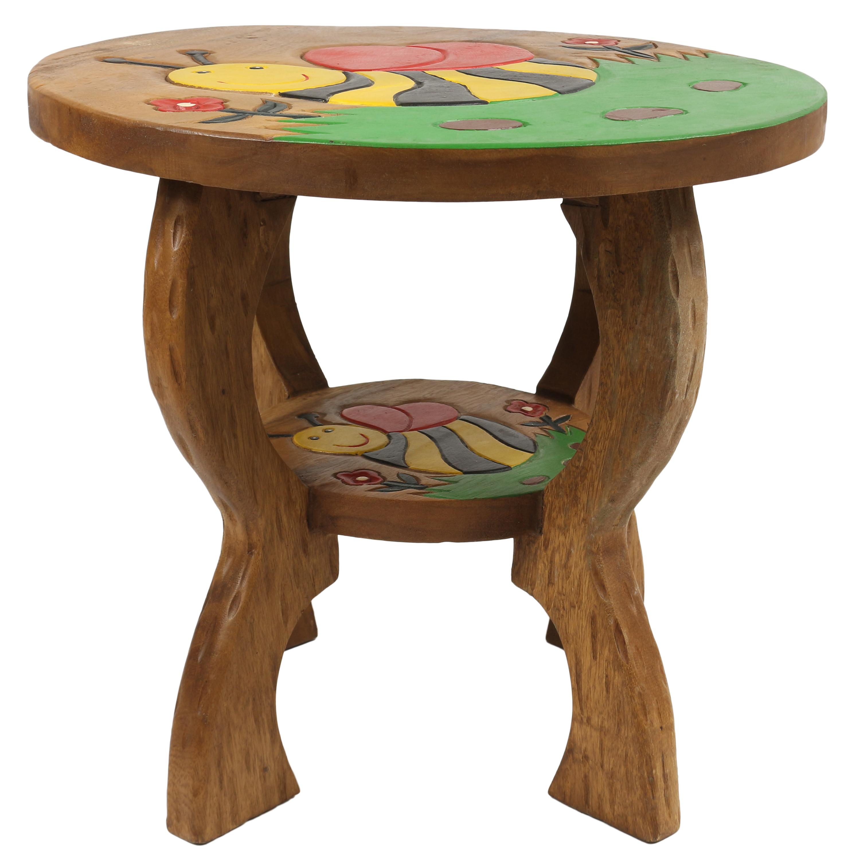 kindertisch spieltisch f r kinder biene ca 50cm durchmesser 45cm h he natur braun limboholz holz. Black Bedroom Furniture Sets. Home Design Ideas