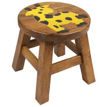 Kinderhocker Giraffe Hocker Rundhocker Holzhocker Sitz Kinder Stuhl ca. 25cm Durchmesser & Höhe Braun Holzfarben Natur Limboholz Holz  – Bild 1