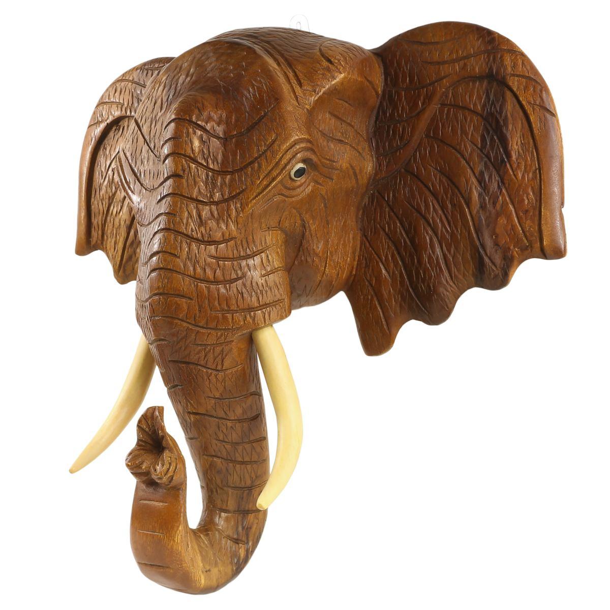 Elefantenkopf Wanddeko Elefant Holz Kopf Skulptur Figur Trophäe ...
