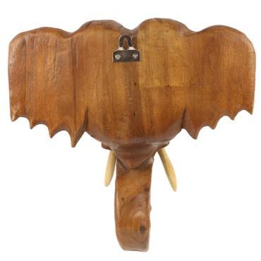 Elefantentrophäe Elefantenkopf Wanddeko Elefant Holz Kopf Skulptur Figur Trophäe Wandfigur 30cm – Bild 4