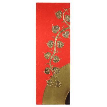 Triptychon Bild 3er Set Leinwand Acrylfarbe mit Blattgold Pflanzen Lebensbaum Kunst Asien Thailand je 30 x 90 cm – Bild 2