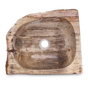 Fossilwaschbecken Waschbecken aus versteinertem Holz Naturstein Stein Becken Fossil Marmorierung Unikat Nr. 987 – Bild 1