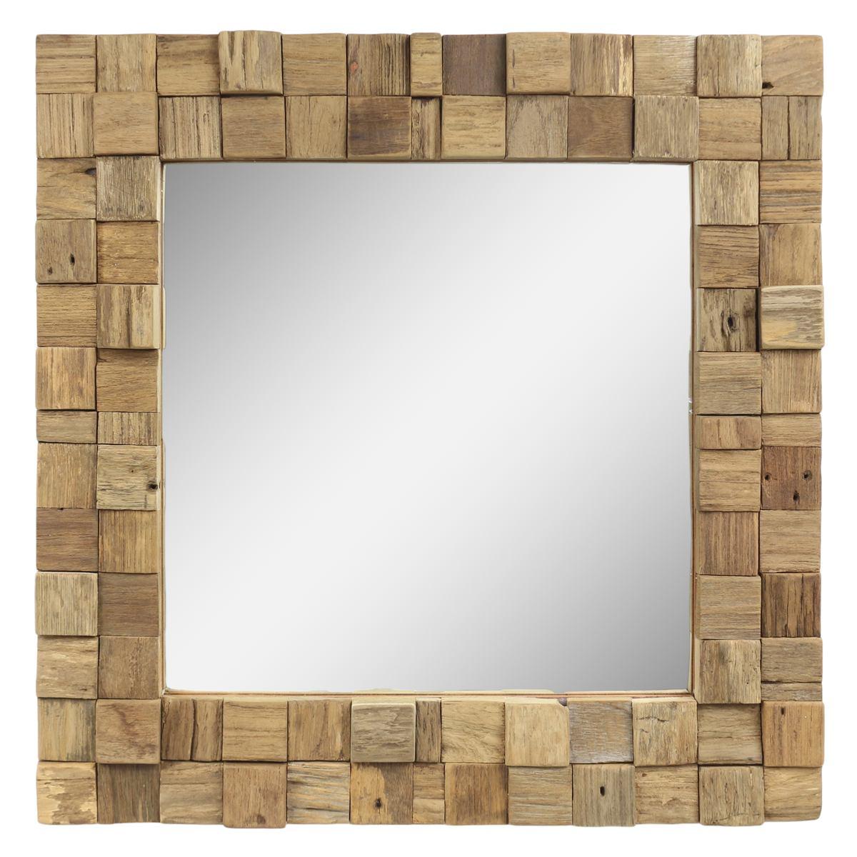 Dekorativer Spiegel mit Holzrahmen Mosaik Quadratisch Wandspiegel aus  Thailand Massiv Würfel Holz-Spiegel ca. 5 x 5 cm Nr. 5  Oriental Galerie