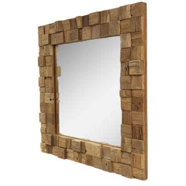 Dekorativer Spiegel mit Holzrahmen Mosaik Quadratisch Wandspiegel aus Thailand Massiv Würfel Holz-Spiegel ca. 50 x 50 cm Nr. 19 – Bild 2
