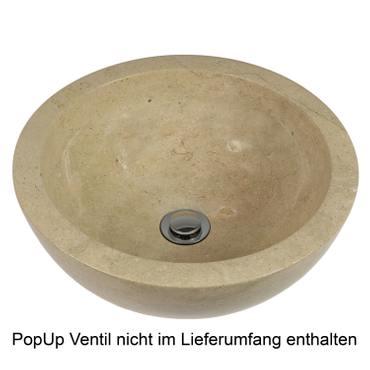 Waschbecken Marmorwaschbecken poliert Steinwaschbecken Natur Bad Rund Marmor Stein Glatt 40 cm Beige Nr. 33 – Bild 3