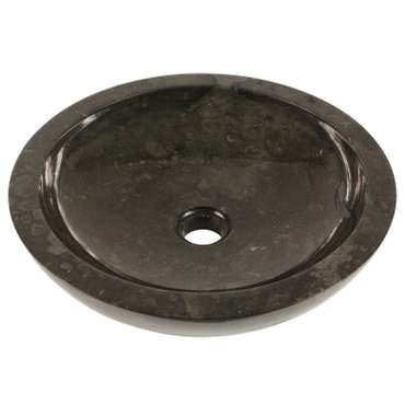 Waschbecken Marmorwaschbecken poliert Steinwaschbecken Natur Bad Rund Marmor Stein Glatt 40 cm Schwarz Nr. 32