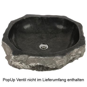 Marmorwaschbecken Waschbecken Stein Becken Basin Bad Waschschale Aufsatzwaschbecken Schwarz Marmor 50cm Nr 46 – Bild 5