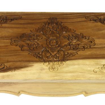 Asiatischer Wohnzimmertisch Opiumtisch mit Schnitzerei auf der Tischplatte Holztisch niedriger Tisch ca. 40x80cm Natur – Bild 3