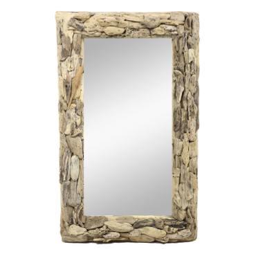Wandspiegel Spiegel Rahmen Hängespiegel Holzrahmen Thailand Massiv ca. 100cm Mosaik Holz Natur – Bild 1