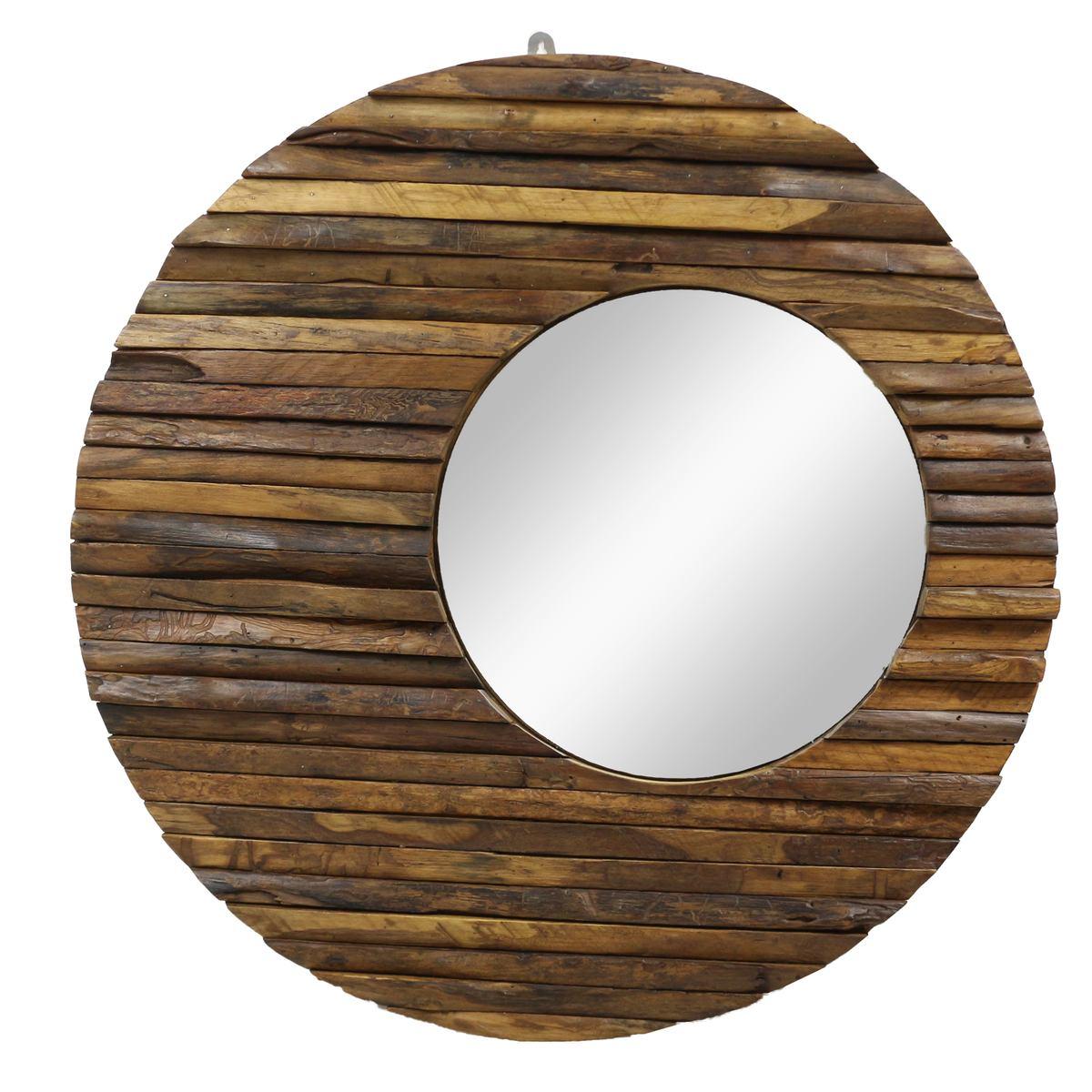 Runder Spiegel Mit Rahmen Aus Holzstücken Sonne Massiv Holzrahmen Wandspiegel Großer Holz Spiegel Ca 80 Cm ø Nr 21 Oriental Galerie
