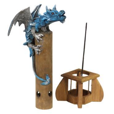 Räucherdrache Räucherstäbchenhalter Räucherstäbchenständer rauchender Drache Figur Dragon Mystik Skulptur Deko Drache Räucherstäbchen ca. 31 cm Blau – Bild 2