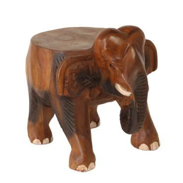 Rundhocker Holzhocker Elefanthocker Blumehocker Elefant Hocker ca. 25 cm hoch 21 x 22 cm Durchmesser Holz Limboholz Braun – Bild 1