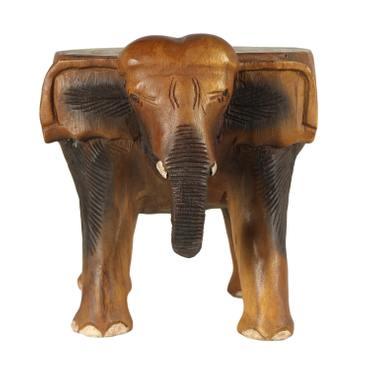Rundhocker Holzhocker Elefanthocker Blumehocker Elefant Hocker ca. 32 cm hoch ca 29 cm Durchmesser Holz Limboholz Braun – Bild 4