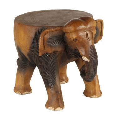 Rundhocker Holzhocker Elefanthocker Blumehocker Elefant Hocker ca. 32 cm hoch ca 29 cm Durchmesser Holz Limboholz Braun – Bild 1