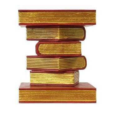 Nachttisch Beistelltisch Ablage Hocker Bücherhocker Holzhocker Akazienholzhocker 34x34 cm 40cm hoch Holz Akazienholz Rot Gold  – Bild 4