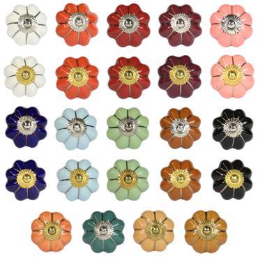 Möbelgriff Blumen Form geschwungen Schubladengriff Möbelknopf Landhausstil Porzellan Keramik Knopf Messing viele Farben 001