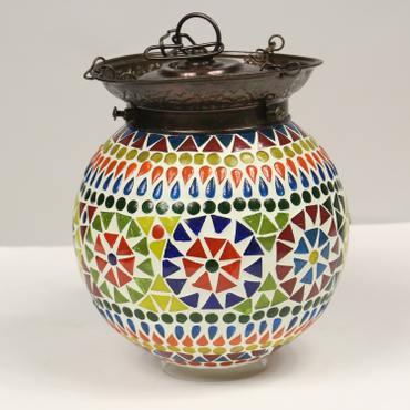 Hänge Mosaik Lampen Rund Orientalisch Dekoleuchte Wandleuchte Laterne Deckenleuchte Bunt Color 14 - 16 cm Ø Nr. 9 – Bild 4