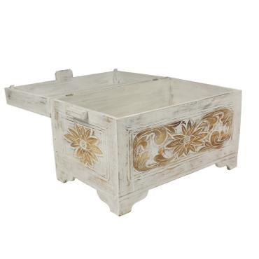 Truhe Holzkiste Holztruhe Schatztruhe Kiste Box Palmenholz Holzbox Blumen Schnitzereien Shabby Used Look Weiß 67cm – Bild 2