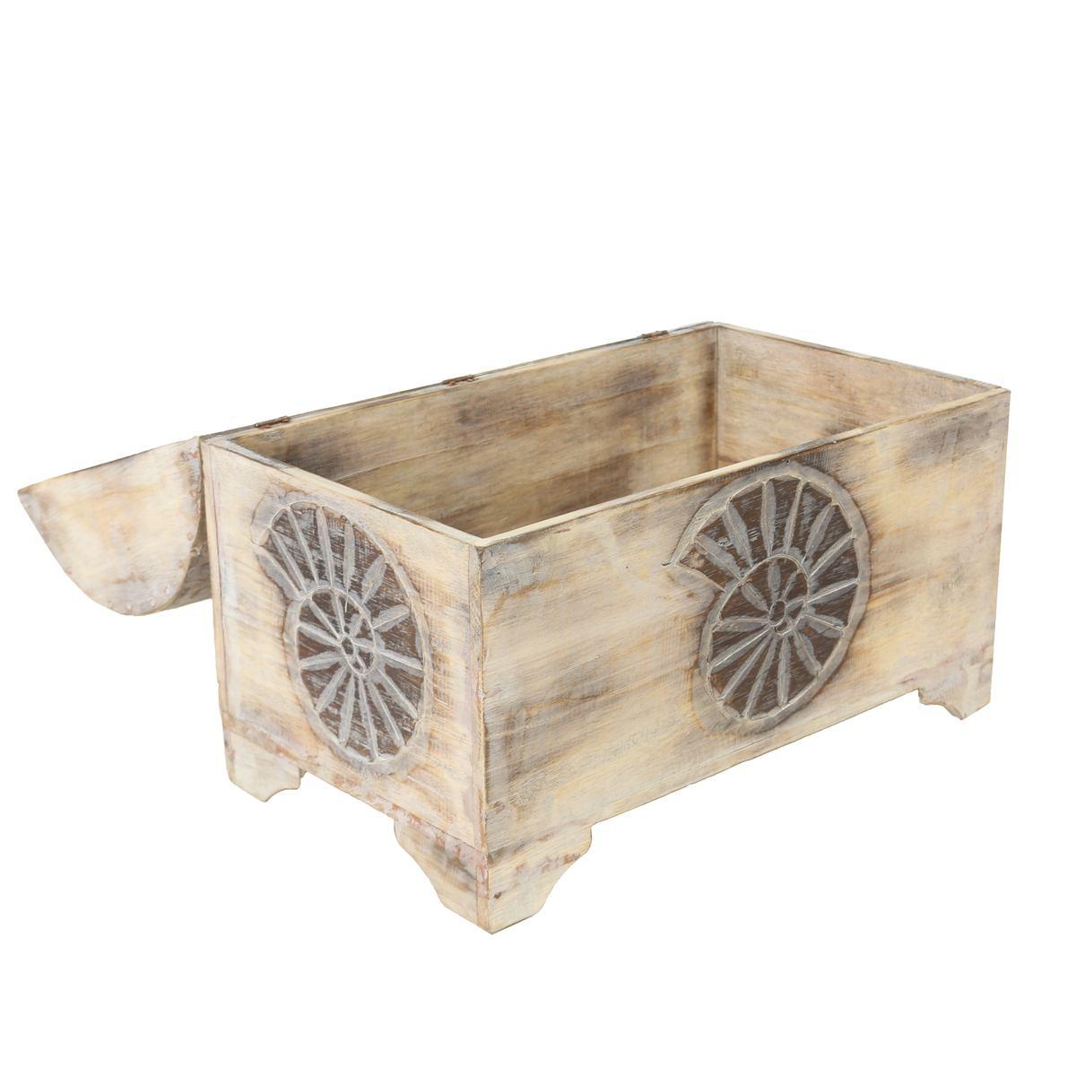 truhe schatztruhe dekotruhe dekokiste box muschel kiste wei shabby chic landhausstil 50cm. Black Bedroom Furniture Sets. Home Design Ideas