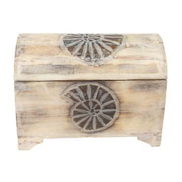 Truhe Schatztruhe Dekotruhe Dekokiste Box  Muschel Kiste Weiß Shabby Chic Landhausstil 50cm  – Bild 2