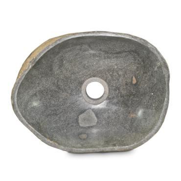Waschbecken aus Natur-Stein Handwaschbecken Waschschale Aufsatzwaschbecken Flussstein Gäste Bad WC Grau Poliert ca. 35 cm Nr 78 – Bild 1