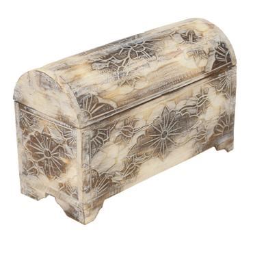 Truhe Schatztruhe Dekotruhe Dekokiste Box  Blumen Kiste Weiß Shabby Chic Landhausstil 25 cm