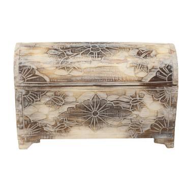 Truhe Schatztruhe Dekotruhe Dekokiste Box  Blumen Kiste Weiß Shabby Chic Landhausstil 25 cm  – Bild 5