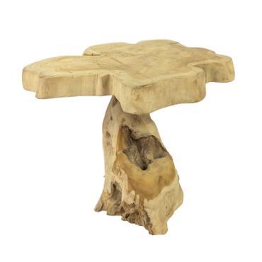 Beistelltisch Holz-Tisch Teakholz Blumentisch Tisch Hocker Gartentisch Blumenhocker Massiv Unikat Natur ca. 46 cm Nr 183 – Bild 1