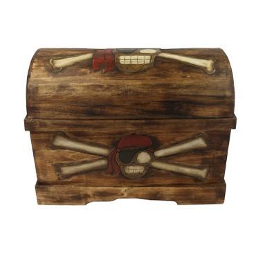Riesige Truhe Schatztruhe Totenkopf Piratentruhe Holztruhe Schatzkiste Box Piraten Kiste Abenteuer Braun 80 cm  – Bild 3