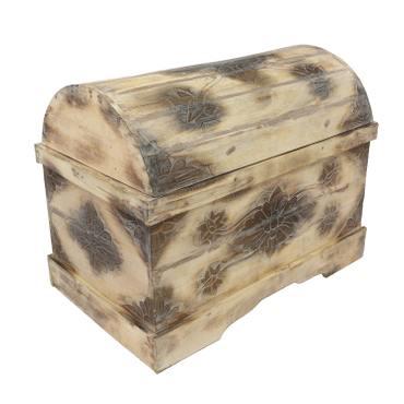 Truhe Schatztruhe Dekotruhe Dekokiste Box Blumen Kiste Weiß Shabby Chic Landhausstil 80 cm  – Bild 1