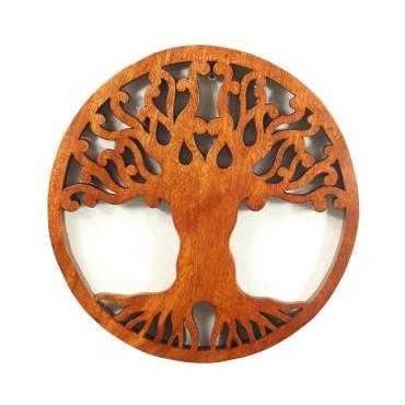 Wandbild Wanddeko Mandala Zeichen Relief Lebensbaum Symbol Mythologie Deko Soar Holz ca. 30 cm Ø – Bild 2