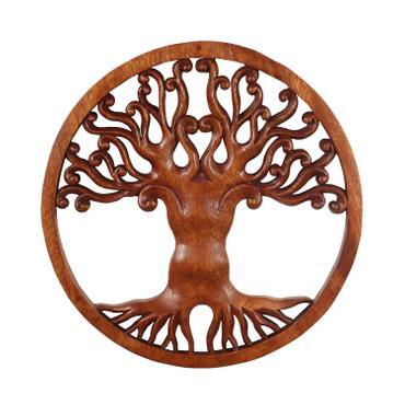 Wandbild Wanddeko Mandala Zeichen Relief Lebensbaum Symbol Mythologie Deko Soar Holz ca. 30 cm Ø
