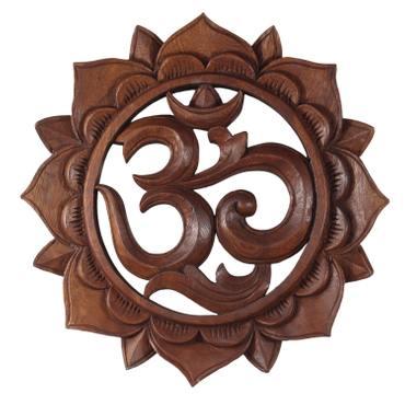 """Om Symbol """"Aum"""" Zeichen Mandala Relief Mantra Sanskrit Devanagari Deko Soar Holz ca. 15 cm Ø – Bild 1"""