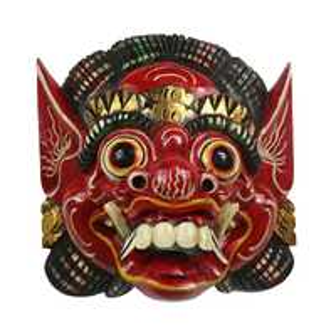 Barongmaske Maske Barong balinesische Mythologie Bali Rangda Asien gute Geister traditionell ca. 25 cm Holz  Nr.5 Hellrot Antik 001