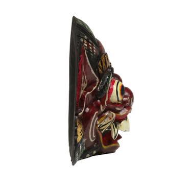 Barongmaske Maske Barong balinesische Mythologie Bali Rangda Asien gute Geister traditionell ca. 25 cm Holz  Nr.6 Dunkelrot Antik – Bild 2