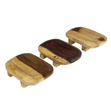 Seifenschale 3er Set Holzschale Deko Natur Dekoration Ablage Seife Holz Schale Tablett Hell Dunkel Holz – Bild 1