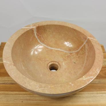 B-Ware Waschbecken Marmorwaschbecken poliert Steinwaschbecken Natur Bad Rund Marmor Stein Glatt 40 cm MB3 – Bild 1
