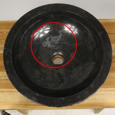 Naturstein Waschbecken B-Ware Handwaschbecken Natursteinwaschbecken Waschtisch 40 cm Marmor Natur Stein Rund Schwarz Grau MS2 – Bild 3