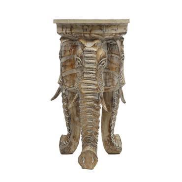 Rundhocker Holzhocker Elefanthocker Blumehocker Whitewash Elefant Hocker ca  60cm hoch 32cm Durchmesser Holz Natur – Bild 1