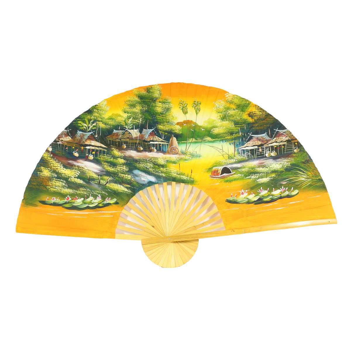 Orangener wandf cher xxl asien thailand handarbeit dekof cher wandbild bambus klappf cher deko - Wanddeko bambus ...