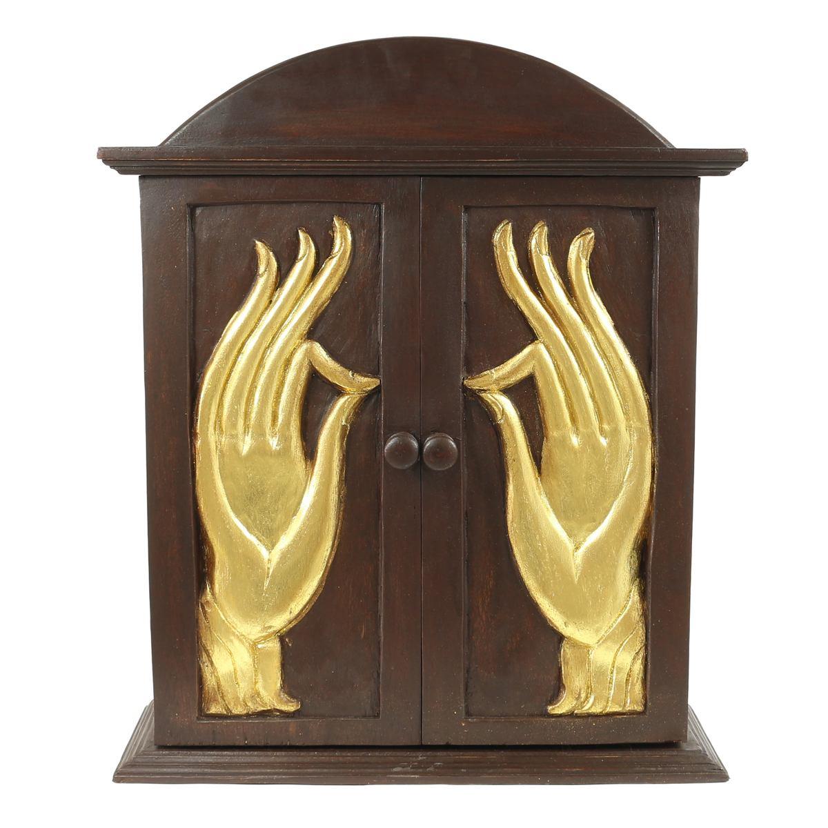 h nde schrank h ngeschrank medizinschrank blattgold akazienholz flurschrank 65cm braun gold. Black Bedroom Furniture Sets. Home Design Ideas
