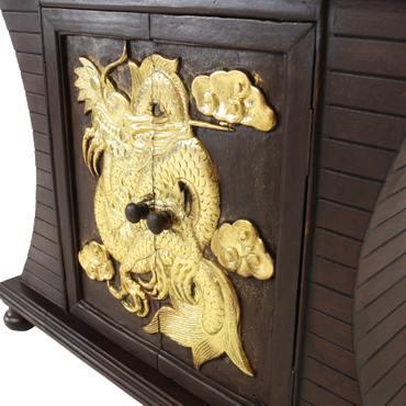 Schrank Kommode Sideboard Flurschrank Rattan Drache Braun Gold 87 cm – Bild 7