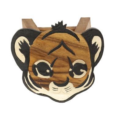 Kinderhocker Tiger Nr. 2 Hocker Rundhocker Holzhocker Sitz Kinder Stuhl ca. 25cm Durchmesser & Höhe Braun Holzfarben Natur Limboholz Holz  – Bild 2