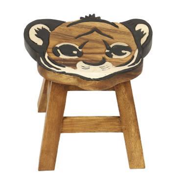 Kinder Sitzgruppe Tische und Stühle 5er Set Tischgruppe Massiv Robust Tiger Nr. 2 Motiv Holz Braun  – Bild 4
